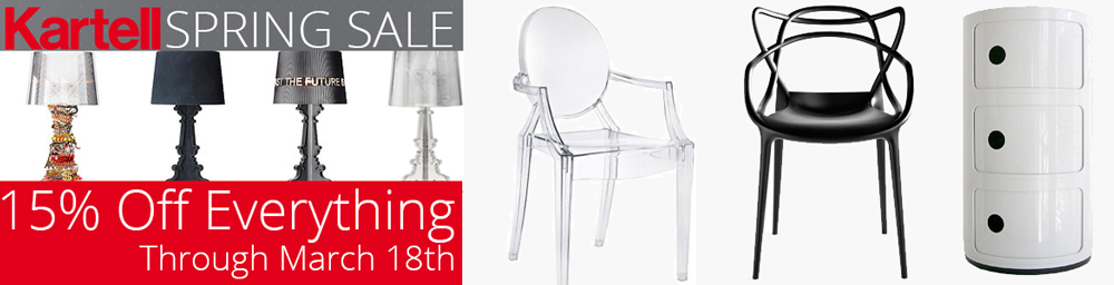 Kartell Spring Promo. 15% Off Everything Until March 18th