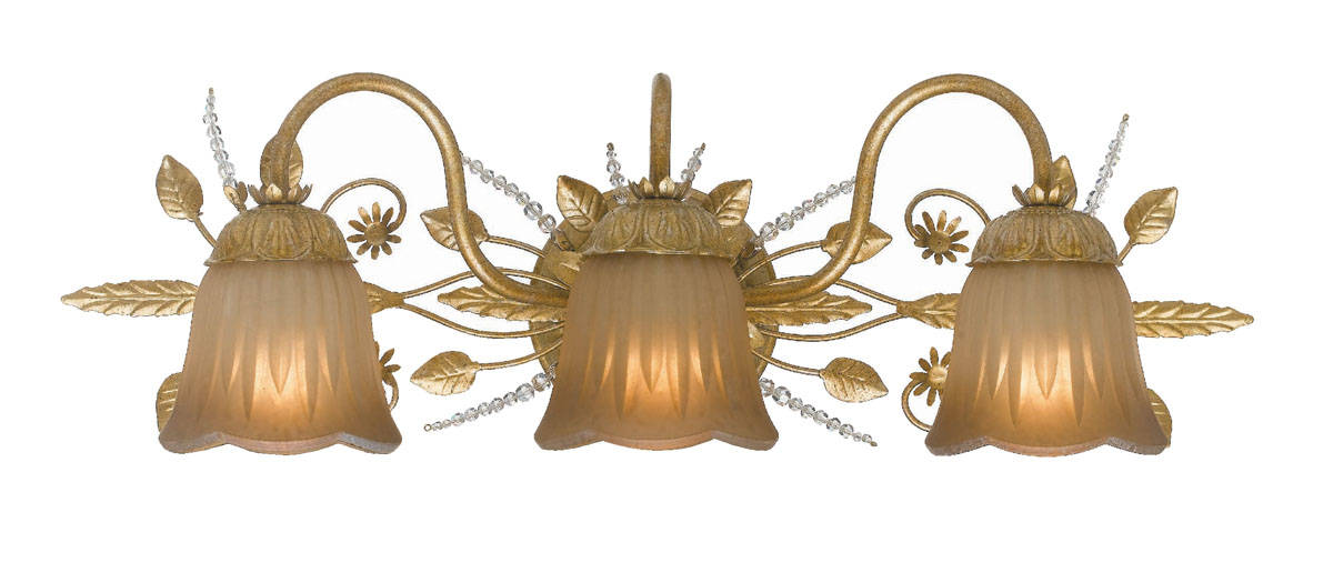 Gold Leaf Finish Swarovski Spectra Beads Crystal Gl Shade Wrought Iron Material Primrose 3 Light Bathroom Vanity