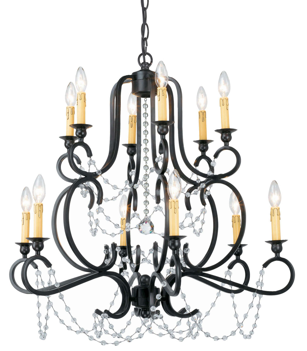 Crystorama Black Iron Wall Chandeliers Draped With Clear