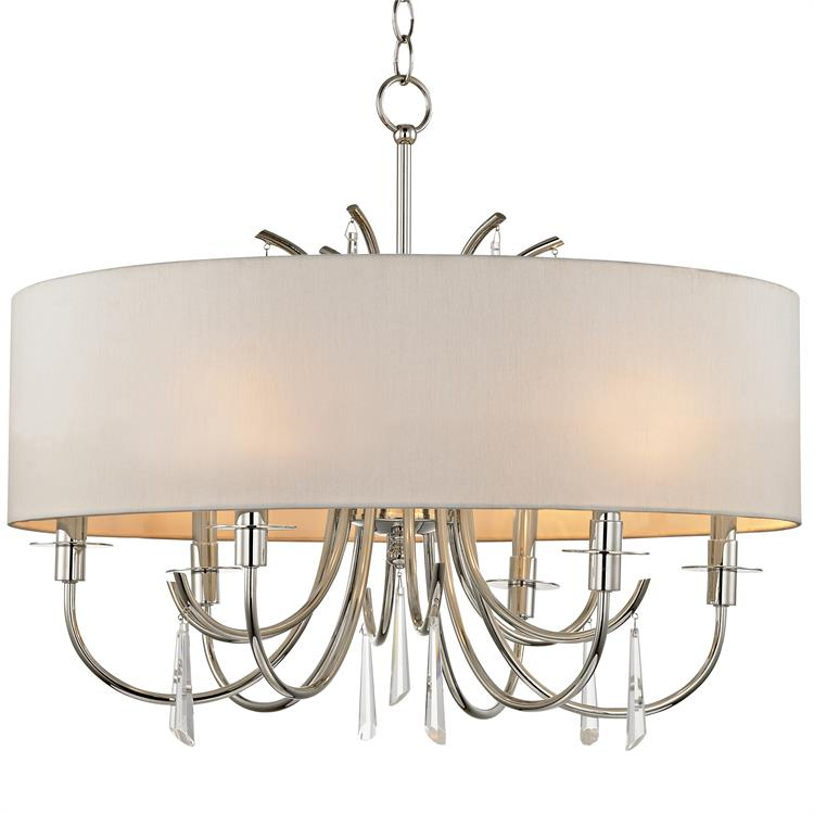 Polished nickel finish clear hand cut crystal steel crystal material cody 6 light crystal chandelier