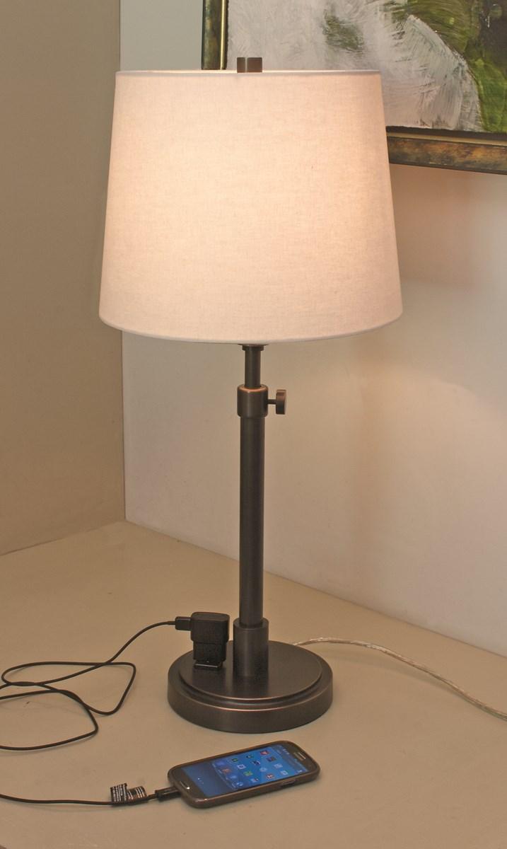 Gentil Oil Rubbed Bronze Finish. Chevron_left. Oil Rubbed Bronze Adj Table Lamp W/ Convenience  Outlet