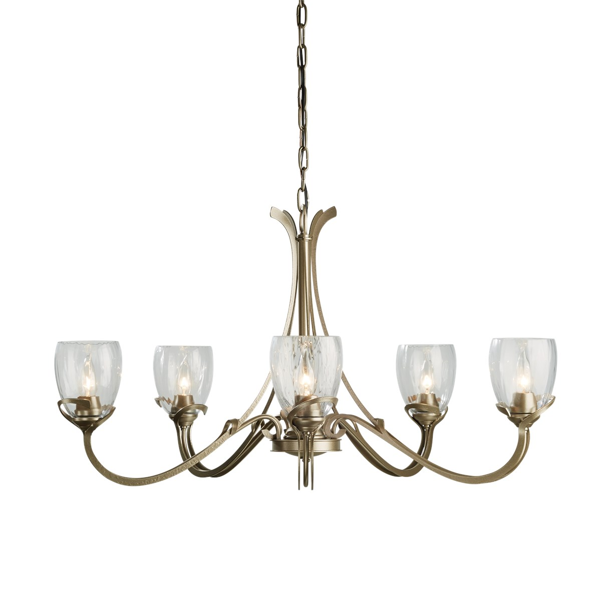 Hubbardton Forge Glass Shades: 5 Arm Chandelier With Glass Shades