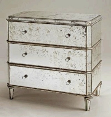 Antiqued Mirror Chest Of