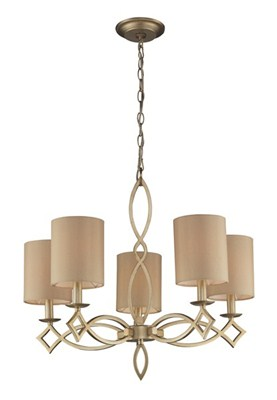 5- Light Chandelier In Aged Si