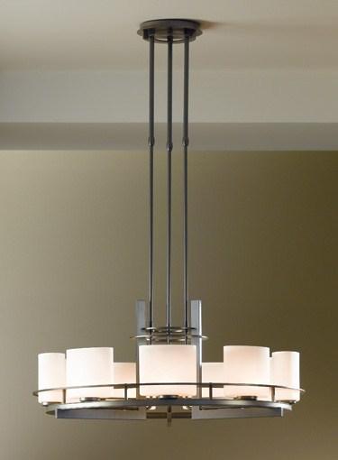 Hubbardton forge pendant fixture arc ellipse circular 9 light pendant for Hubbardton forge bathroom lighting
