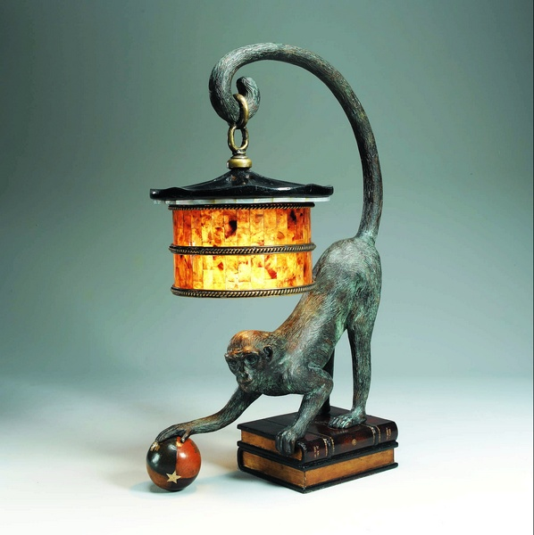 BRONZE + LEATHER MONKEY. Table L& from Maitland Smith & Maitland Smith BRONZE + LEATHER MONKEY Table Lamp | Neenas Lighting