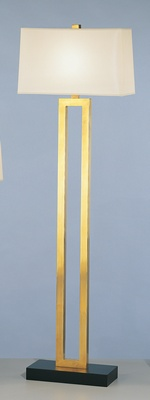 Aged Brass Fl Lamp W/