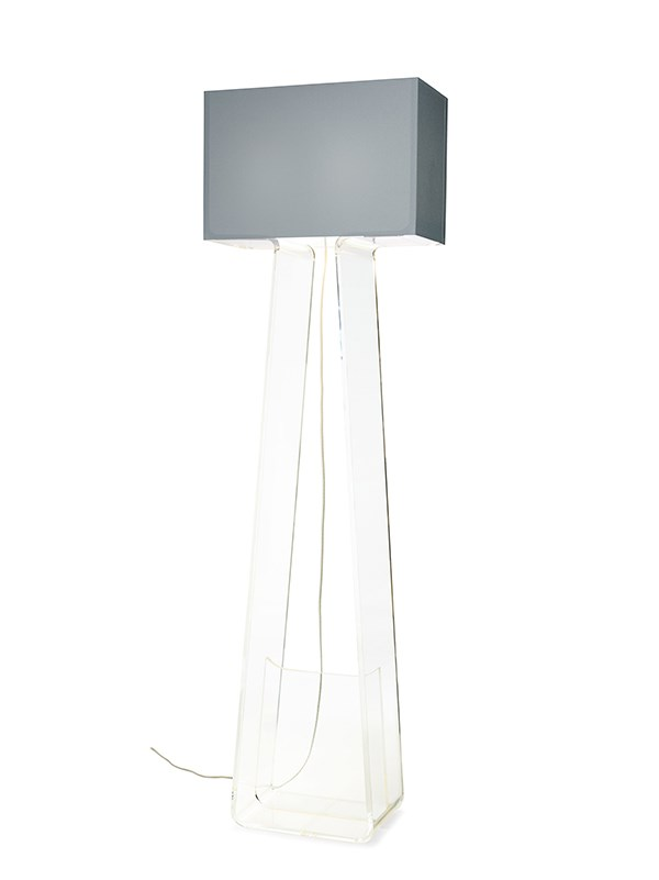 Pablo tube top floor lamp floor lamp neenas lighting clear base with silver shade color aloadofball Image collections