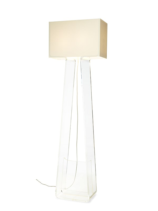 Pablo tube top floor lamp floor lamp neenas lighting clear base with white shade color chevronleft chevronright tube top floor lamp aloadofball Image collections