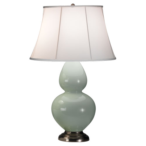 Celadon Glazed Ceramic  Color, Ivory Stretched Fabric Shade Shade, Antique Silver Finished Finish
