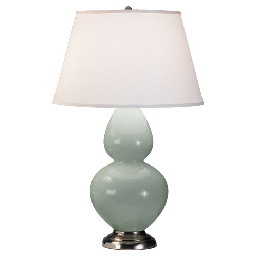 Celadon Glazed Ceramic  Color, Pearl Dupioni Fabric Shade Shade, Antique Silver Finished Finish