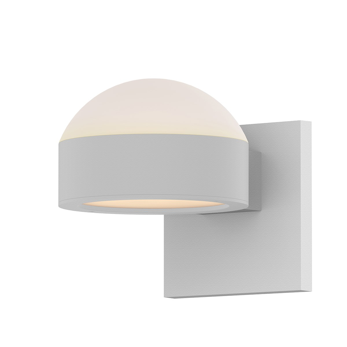 Textured White Finish Domed Frosted White Polycarbonate Top Shade Flat White  Optical Acrylic Bottom Shade