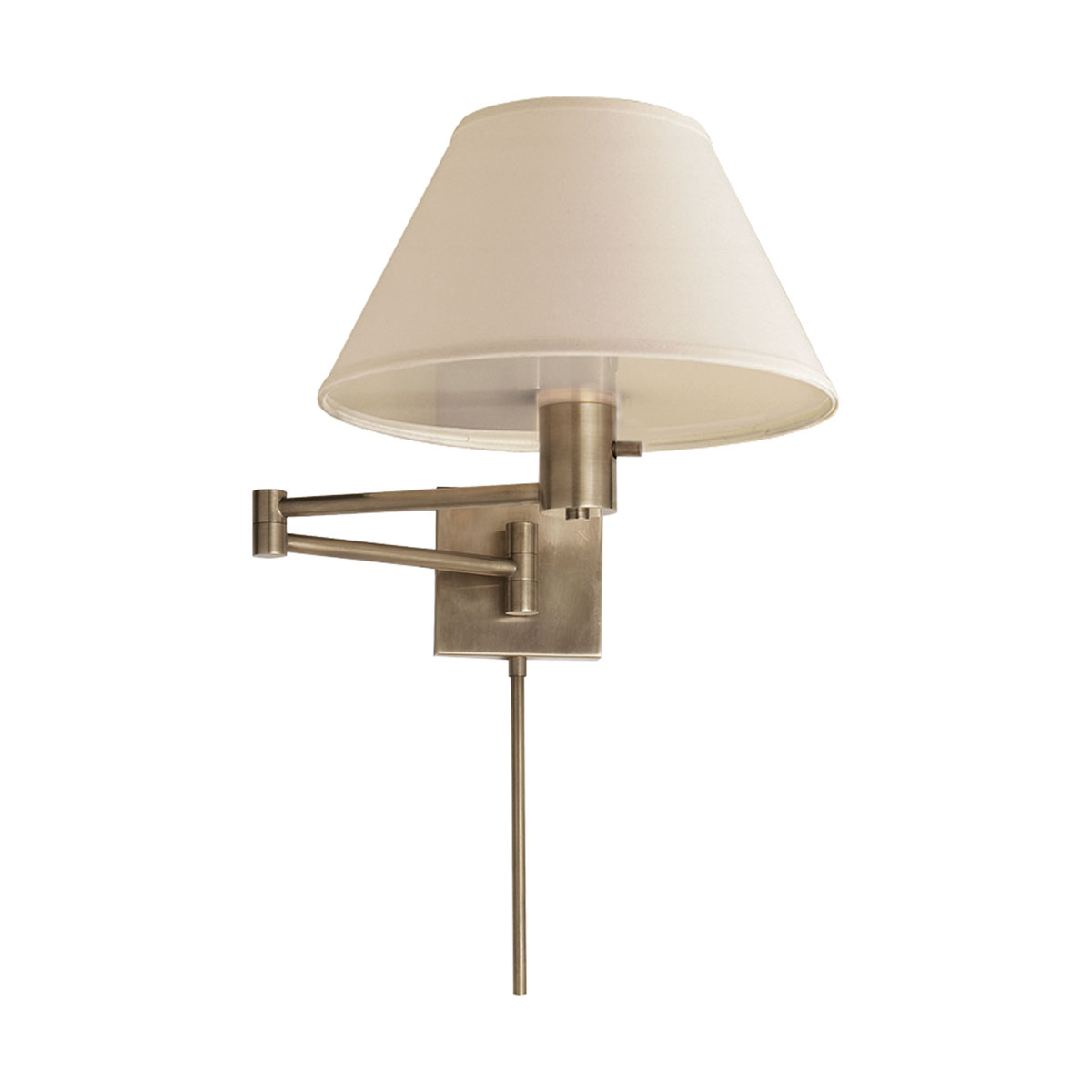 classic swing arm wall antique nickel finish linen shade - Swing Arm Wall Lamps For Bedroom