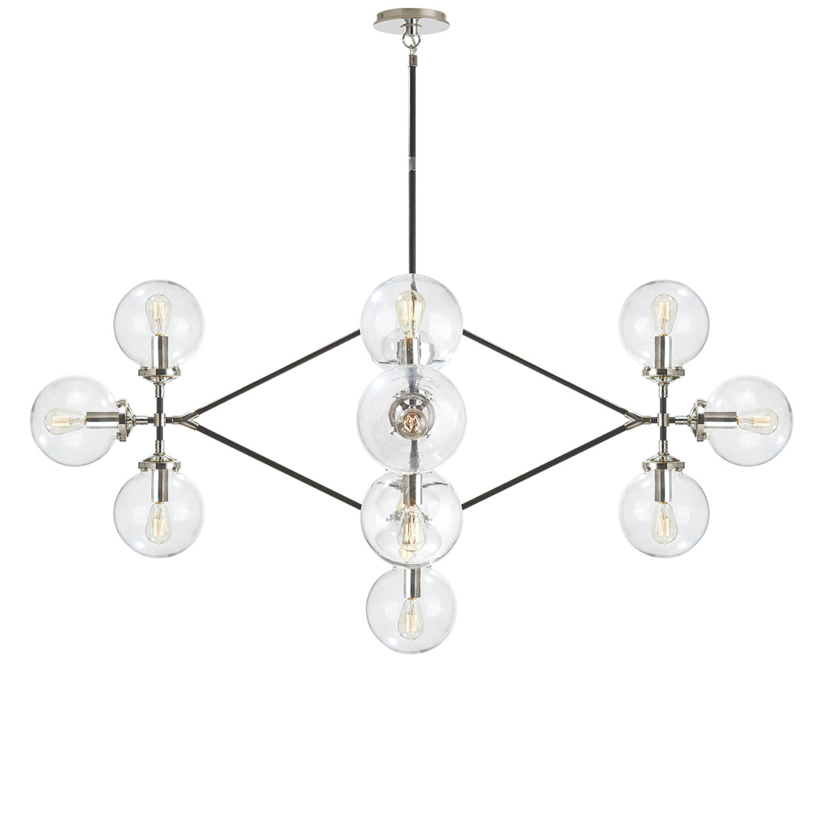 Visual comfort bistro four arm chandelier chandelier neenas lighting polished nickel and black finish clear glass shade chevronleft bistro four arm chandelier aloadofball Image collections