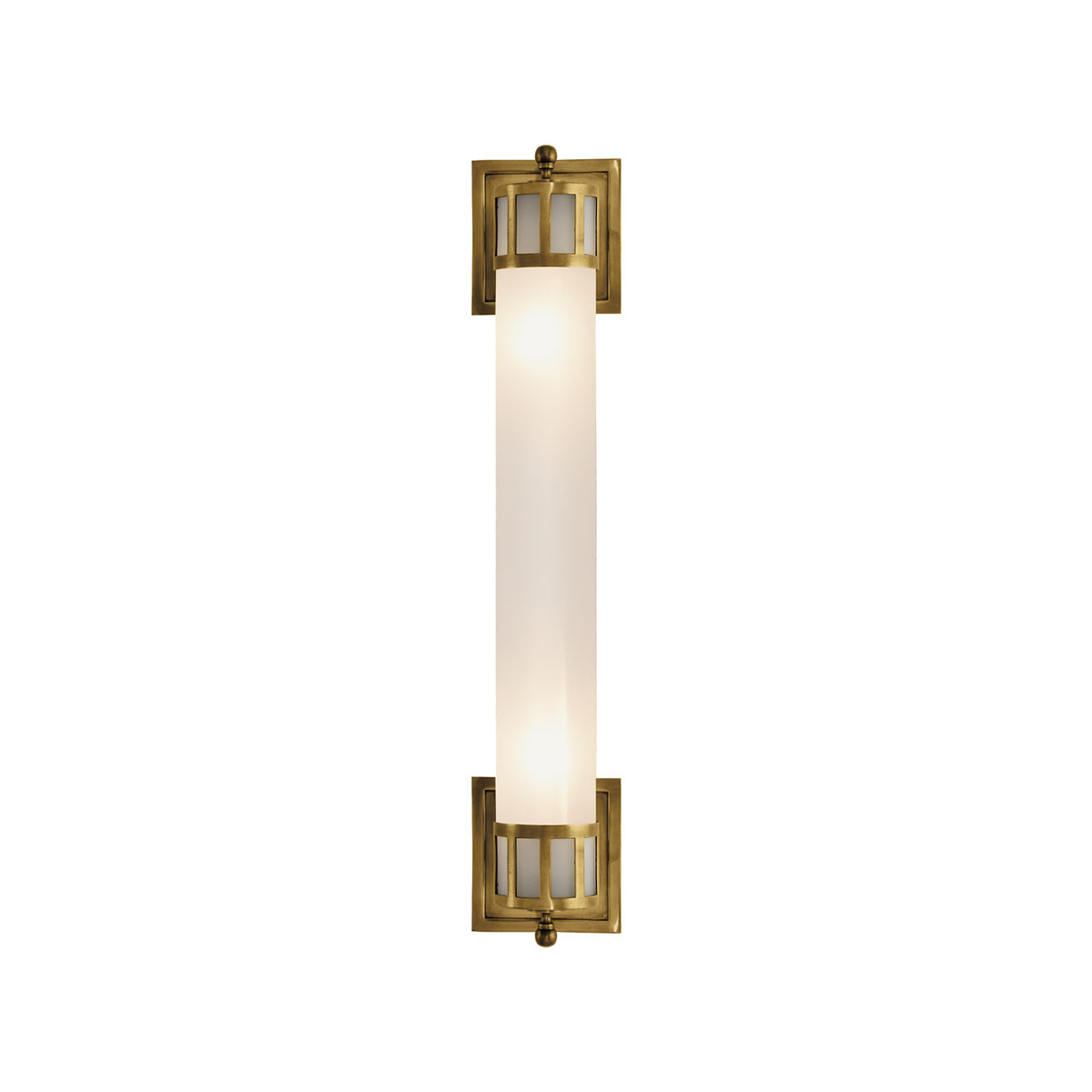 Wall Sconces Long : Hand-Rubbed Antique Brass Finish, Frosted Glass Shade