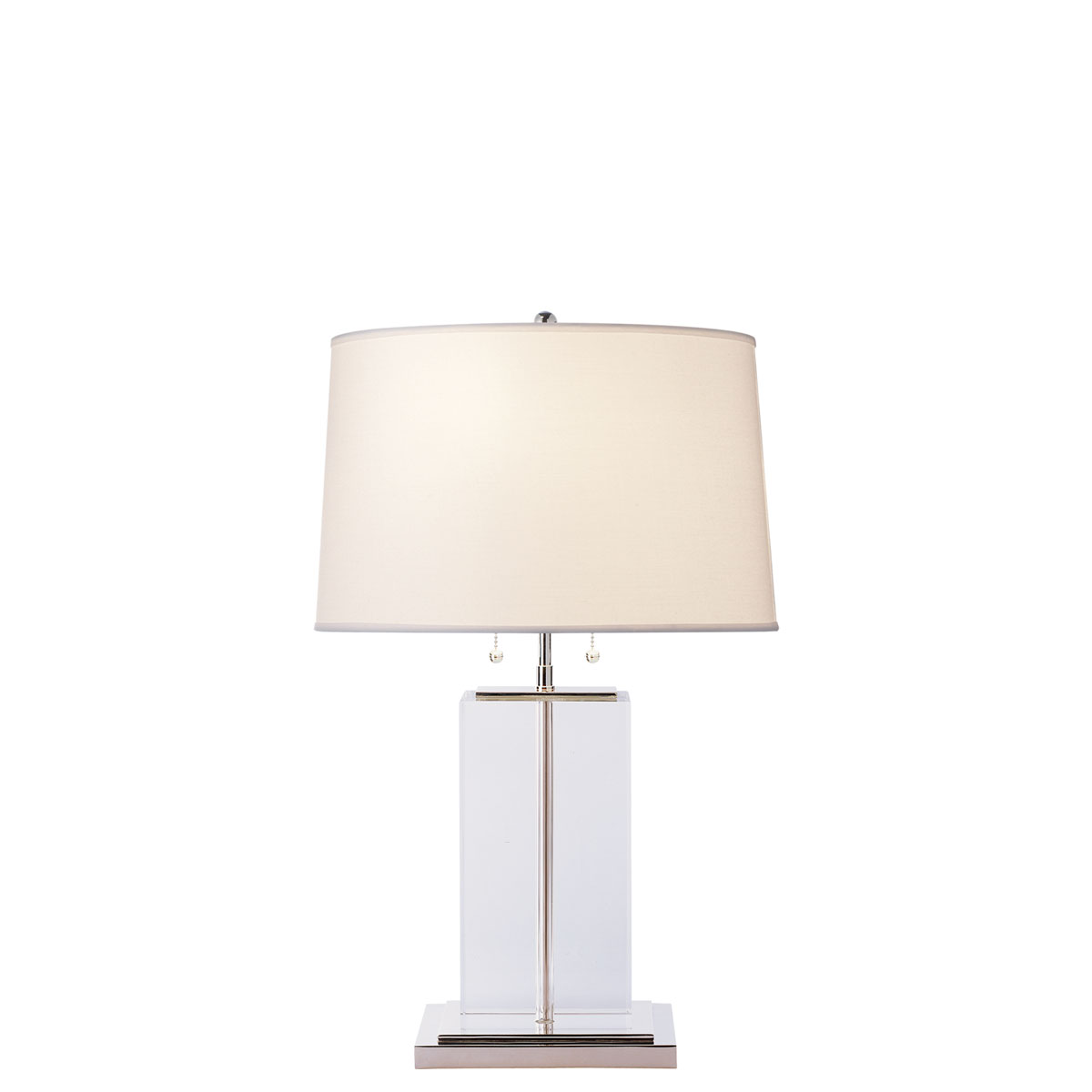 Visual comfort large crystal block table table lamp neenas lighting crystal or clear glass finish cotton shade geotapseo Gallery
