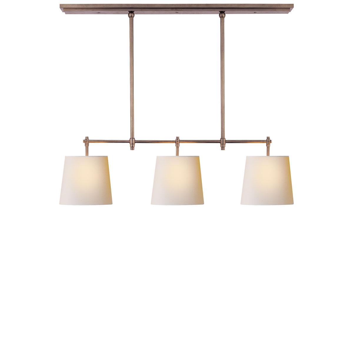 Visual comfort bryant small billiard pendant fixture neenas lighting antique nickel finish natural paper shade arubaitofo Gallery