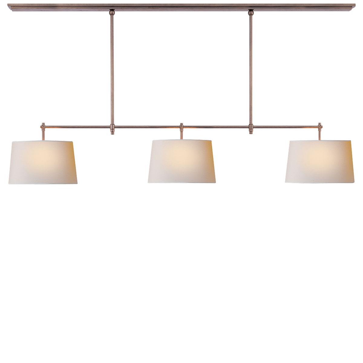 Visual comfort bryant large billiard pendant fixture neenas lighting antique nickel finish natural paper shade arubaitofo Gallery