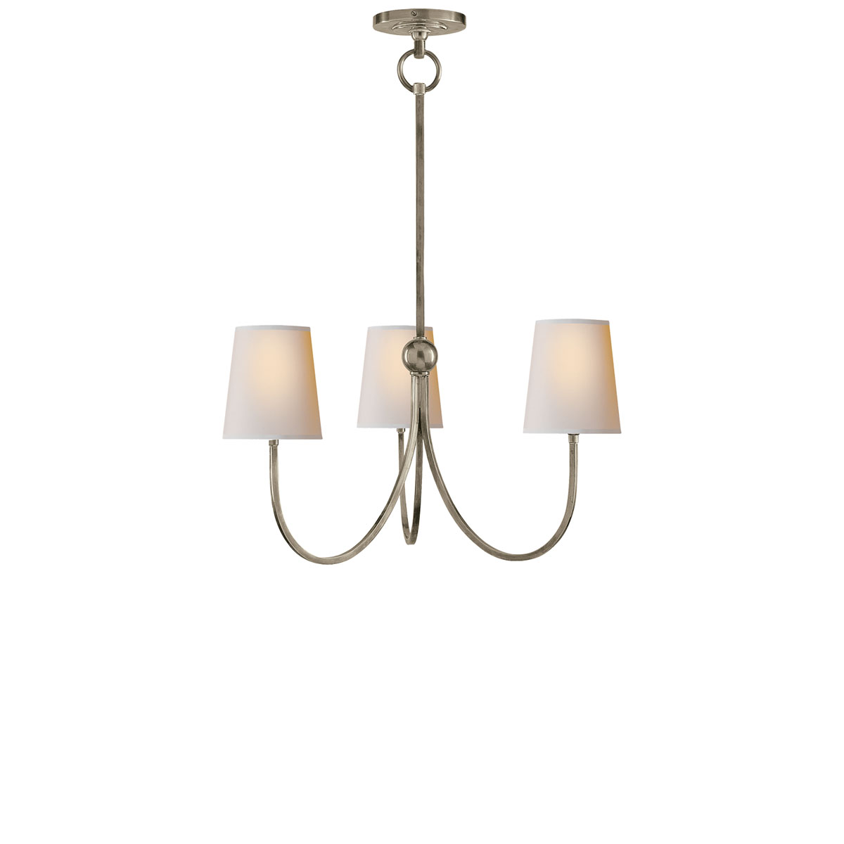 Antique Nickel Finish Natural Paper Shade - Visual Comfort Small Reed Chandelier, Chandelier Neenas Lighting