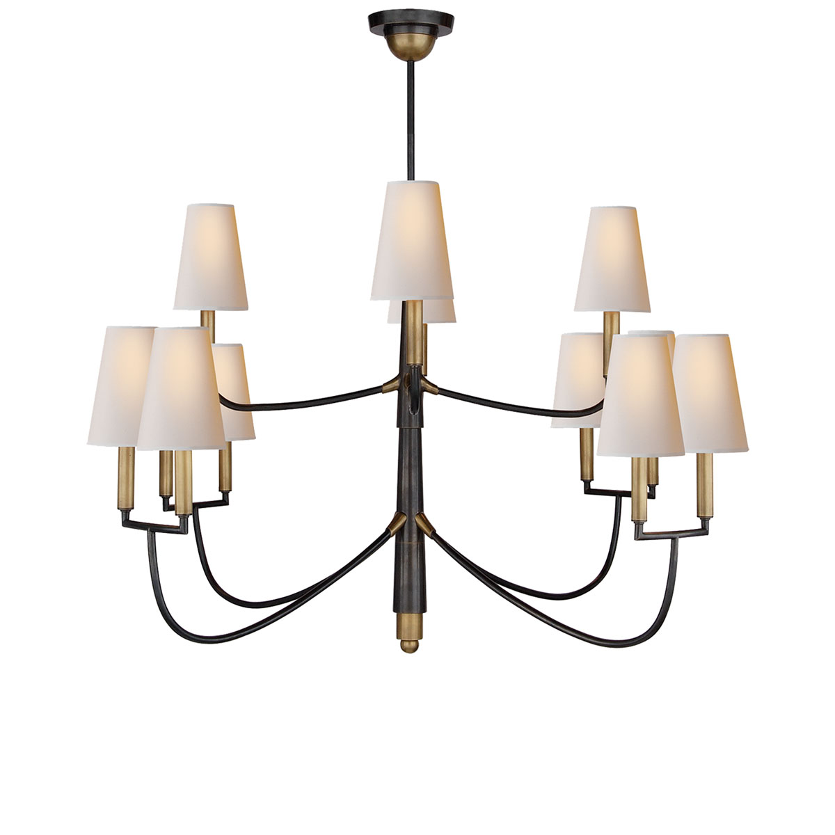 Visual comfort large farlane chandelier chandelier neenas lighting bronze with antique brass accents finish natural paper shade arubaitofo Choice Image
