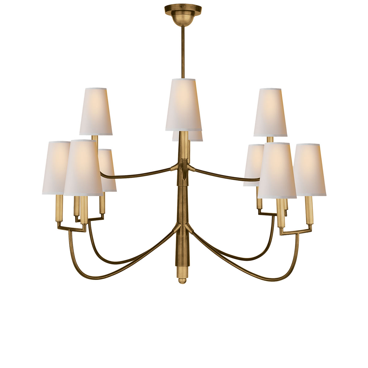 Hand-Rubbed Antique Brass Finish Natural Paper Shade - Visual Comfort Large Farlane Chandelier, Chandelier Neenas Lighting