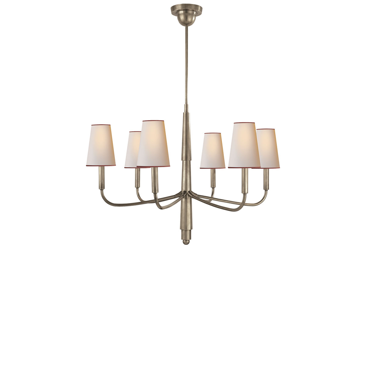 Visual comfort small farlane chandelier chandelier neenas lighting antique nickel finish natural paper w red tape shade arubaitofo Choice Image