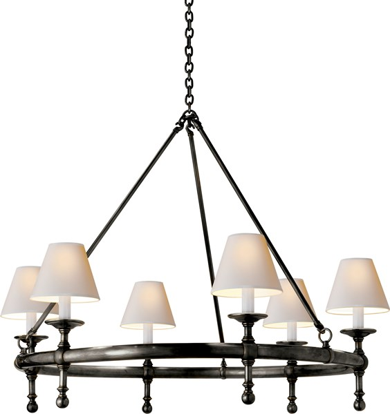 Launceton Ring Chandelier: Bronze With Wax Finish, Natural Paper Shade